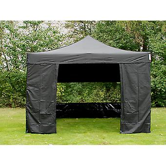 Vouwtent/Easy up tent FleXtents Easy up pavillon Basic v.3, 4x4m Zwart, inkl. 4 Zijwanden