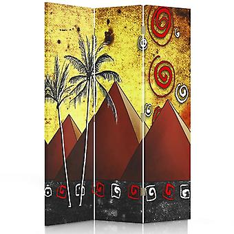 Room Divider, 3 Panels, Single-Sided, Canvas, Pyramids