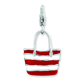 Sterling Silver Enameled 3-d Stripe Tote Bag With Lobster Clasp Charm - 3.0 Grams