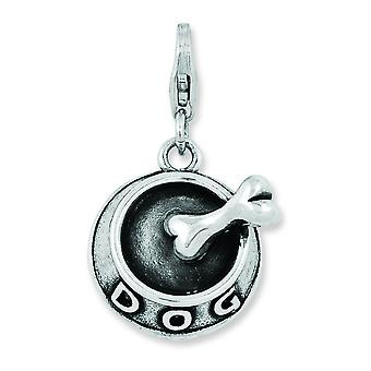 Sterling Silver 3-d Dog Bowl and Bone With Lobster Clasp Charm - 4.7 Grams