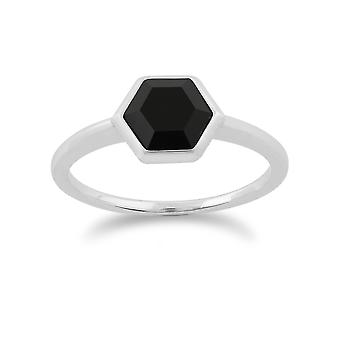 Gemondo 925 Sterling Silver 1.10ct Black Onyx Hexagonal Prism Ring