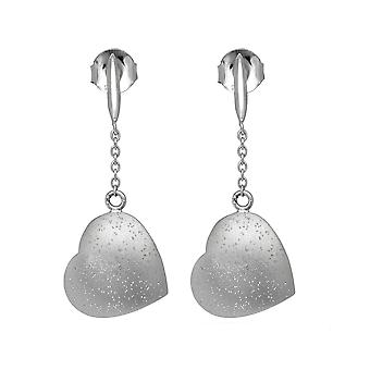 Sterling Silver Rhodium Plated With Brushed Diamond Dust Finish Dangle Puff Heart Drop Earrings