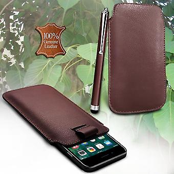 i-Tronixs Asus ZenFone 2 ZE550ML Genuine Leather High Quality Pull Tab Flip Phone Case Cover With Stylus Pen Brown