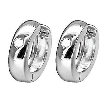Hoop Huggie Earrings, 925 Sterling Silver Round with Crystal Clear Stones