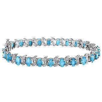 Blue Topaz Bracelet with Diamonds 12.0 Carat (ctw) in Sterling Silver