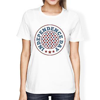 Onafhankelijkheidsdag Amerikaanse vlag Shirt Womens wit 4 juli Tee