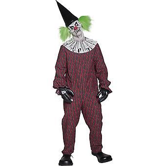 Clownkostüm di Halloween di psico pagliaccio pagliaccio diabolico