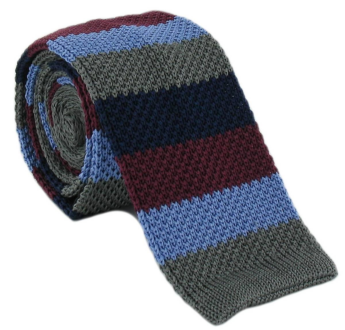 Michelsons of London Striped Skinny Silk Knitted Tie - Grey