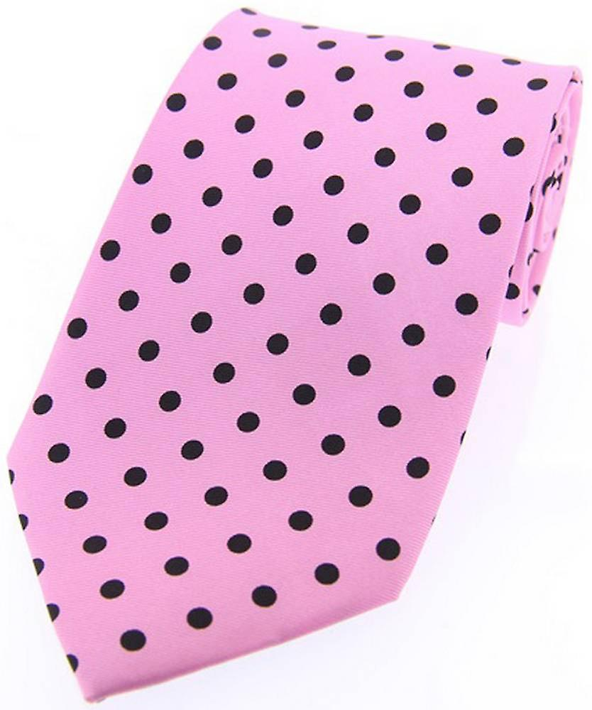 David Van Hagen Polka Dot Silk Twill Tie  - Pink/Black