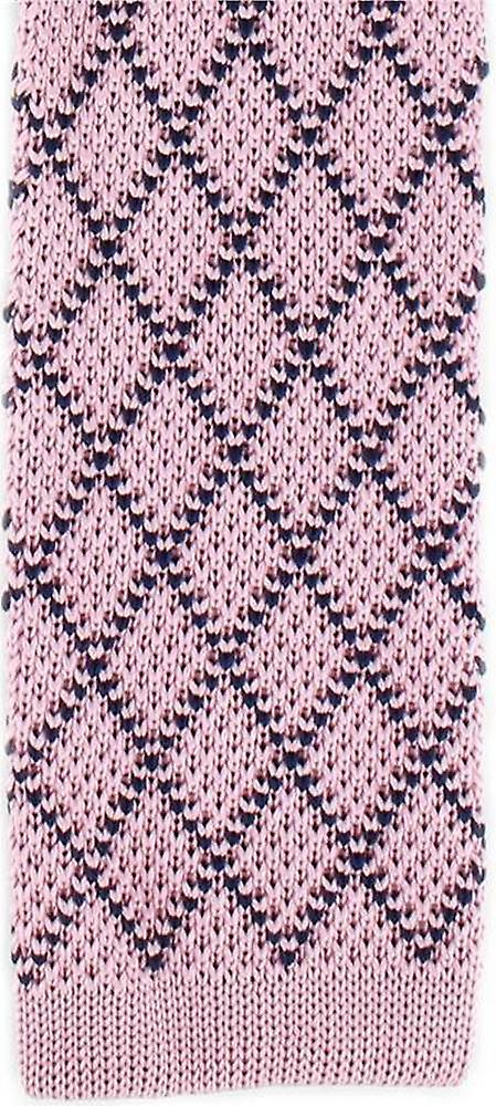 Michelsons of London Diamond Silk Knitted Skinny Tie - Pink/Navy