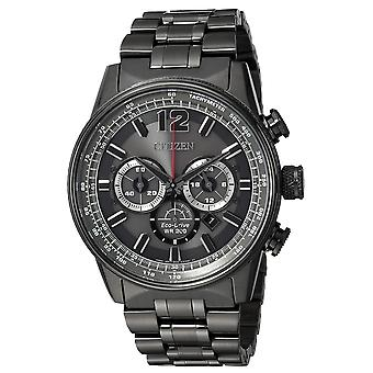 Citizen Eco-Drive Black Stainless Steel Chronograph Mens Watch CA4377-53H