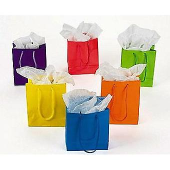 12 Small Neon Paper Gift Bags | Kids Party Loot Bags