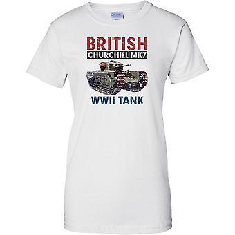 Churchill británico MK7 - tanque de guerra mundial 2 - señoras T Shirt