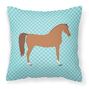 Azul de caballo árabe ver tejido decorativo de la almohadilla