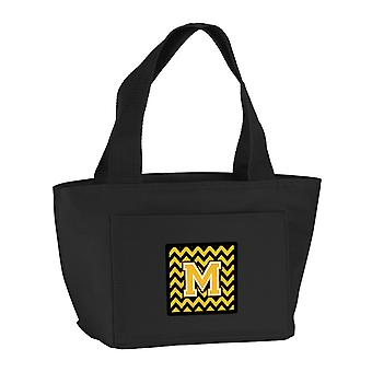 Carolines Treasures  CJ1053-MBK-8808 Letter M Chevron Black and Gold Lunch Bag