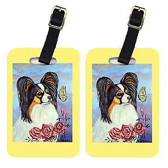 Carolines Treasures  7036BT Pair of 2 Papillon with Butterfly Luggage Tags