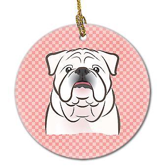 Dambord roze witte Engels Bulldog keramische Ornament