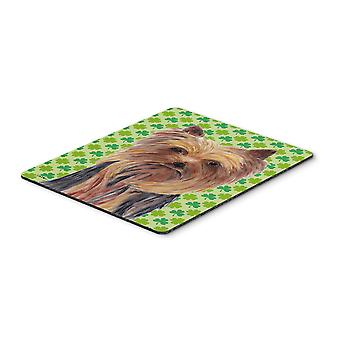 Yorkie St. Patrick's Day Shamrock Portrait Mouse Pad, Hot Pad or Trivet