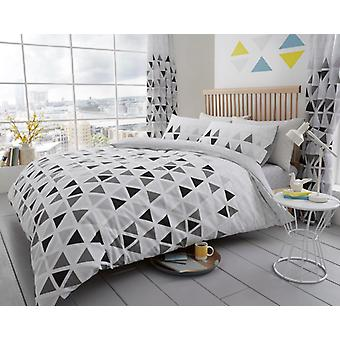 Geo Triangle Printed Duvet Quilt Cover Bedding Set Bed Linen