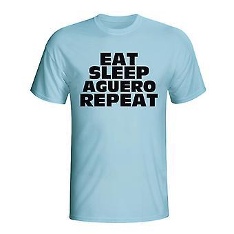 Jeść, spać Aguero Powtórz T-shirt (błękitny) - dla dzieci