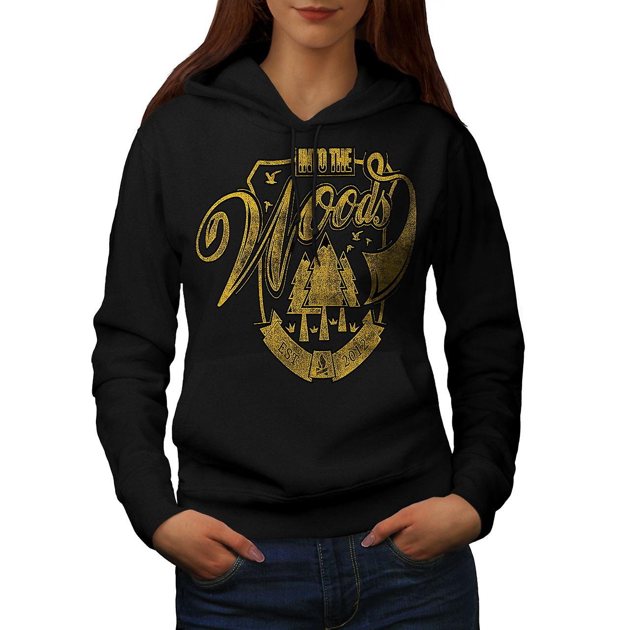 Into The Woods Vintage Women Black Hoodie | Wellcoda
