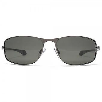 Freedom Polarised Metal Square Wraparound Sunglasses In Gunmetal