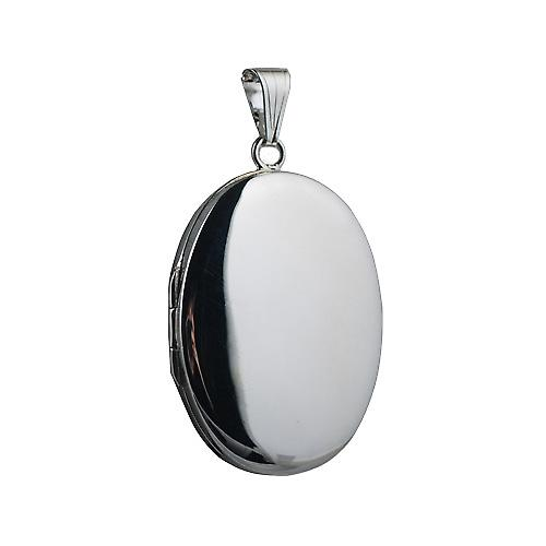 Silver 35x26mm plain oval Locket