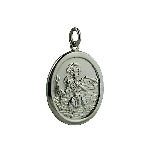 9ct White Gold 30x21mm oval St Christopher Pendant