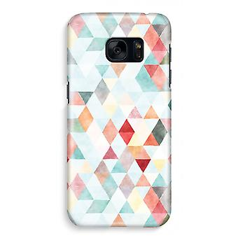 Samsung S7 Full Print Case - Coloured triangles pastel