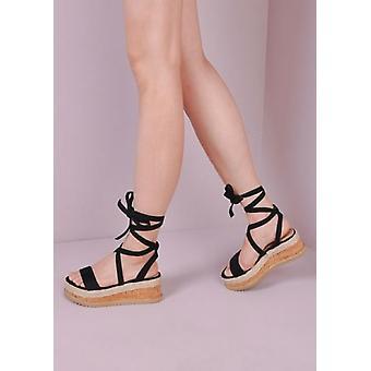 Wildleder-Schnürschuh geflochten Kork Keil flache Schuhe Sandalen Schwarz