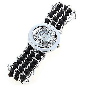 Ladies Fashion Pearl Look Watch Black