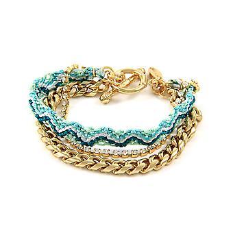 Ettika - Bracelet friendship Crystal white, cotton braid green and yellow gold plated