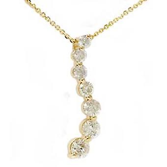 1 1 / 2ct diament podróż wisiorek 14K żółte złoto nowe