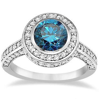 1 5 / 8ct blau & White Diamond Vintage Halo Lünette Verlobungsring 14K White Gold
