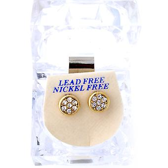 Iced out bling earrings box - ROUND gold