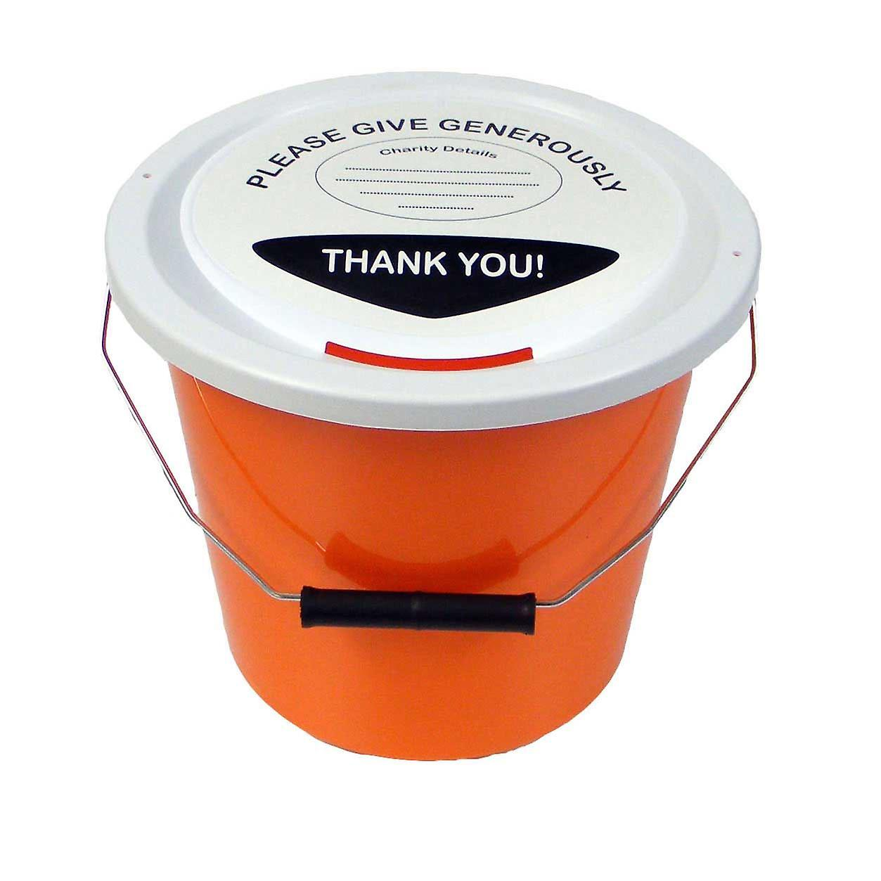 3 Charity Money Collection Buckets 5 Litres - Orange