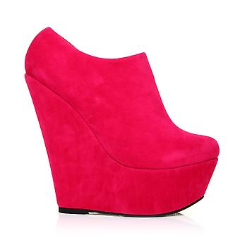 TINA Fuchsia Faux Suede Wedge Very High Heel Platform Ankle Shoe Boots
