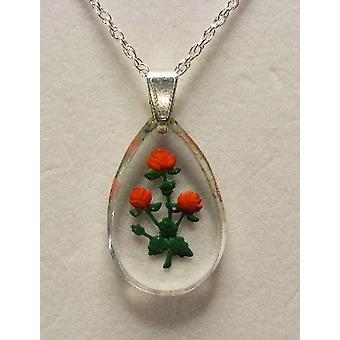 Red rose hand painted oval crystal pendant