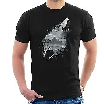 Game Of Thrones King Of The North Wolf Collage Men's T-Shirt