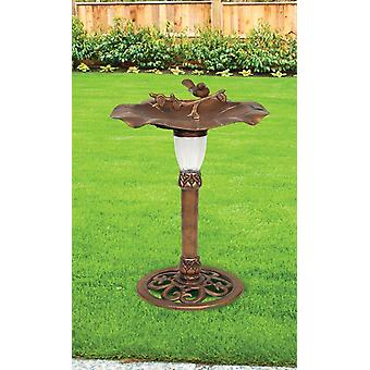 Solar Powered LED Traditional Ornamental Bird Bath Garden Outdoor Patio Water