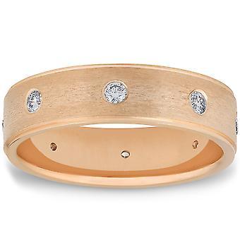 Herren gelb 14K Gelb Gold gebürstet Diamant Ehering