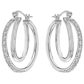 IBB London Double Cubic Zirconia Hoop Creole Earrings - Silver