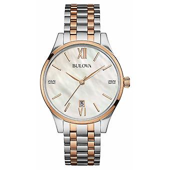 Bulova dames twee-Tone Rose goud, Pearl, Diamond 98S150 Watch
