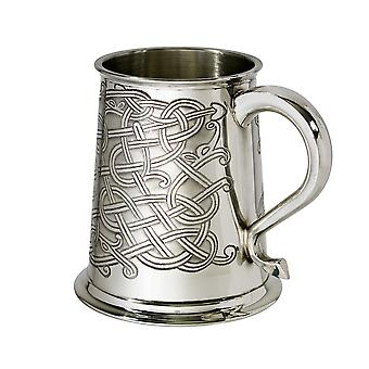 Celtic Knot Embossed Pewter Tankard - 1 pint