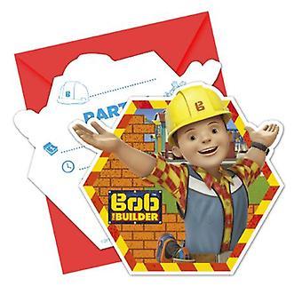 Bob Builder part invitation kort 6 stykke børn fødselsdag temafest