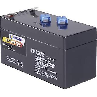 Conrad energy CE12V/1,2Ah 250165 VRLA 12 V 1.2 Ah AGM (W x H x D) 97 x 52 x 48 mm 4.8 mm blade terminal Maintenance-free