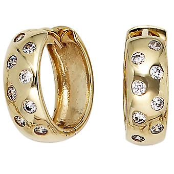 Round hoop earrings 333 gold yellow gold with 16 cubic zirconia earrings gold