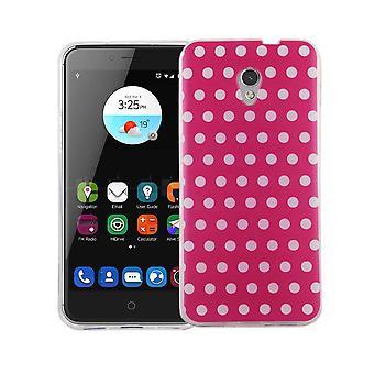 Handy Hülle für ZTE Blade V7 Cover Case Schutz Tasche Motiv Slim Silikon TPU Polka Dot Pink