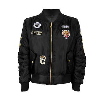 Children's Ma1 Badge Padded Lined Satin Biker Stylish Vintage Bomber Jacket