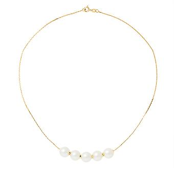Necklace ras neck woman 5 white 9 mm AA culture of freshwater pearls and gold yellow 750/1000